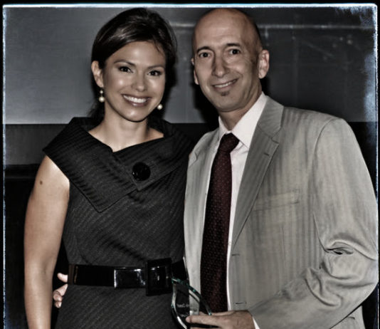 Long Island Business News' David Winzelberg pictured with CBS New York's Kristine Johnson - Fair Media Council
