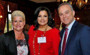 SUKI Krishnan, Fair Media Council CEO Jaci Clement and WPIX's Scott Stanford at FMC Folio Awards 2017 - Fair Media Council