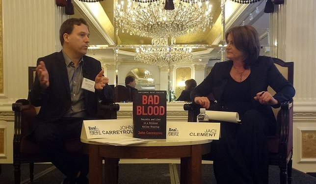 The Wall Street Journal's John Carreyrou took an appreciative audience behind the scenes of his work to uncover the fraud behind Theranos. John's pictured with Jaci Clement, CEO, Fair Media Council. Photo by Christopher Boyle